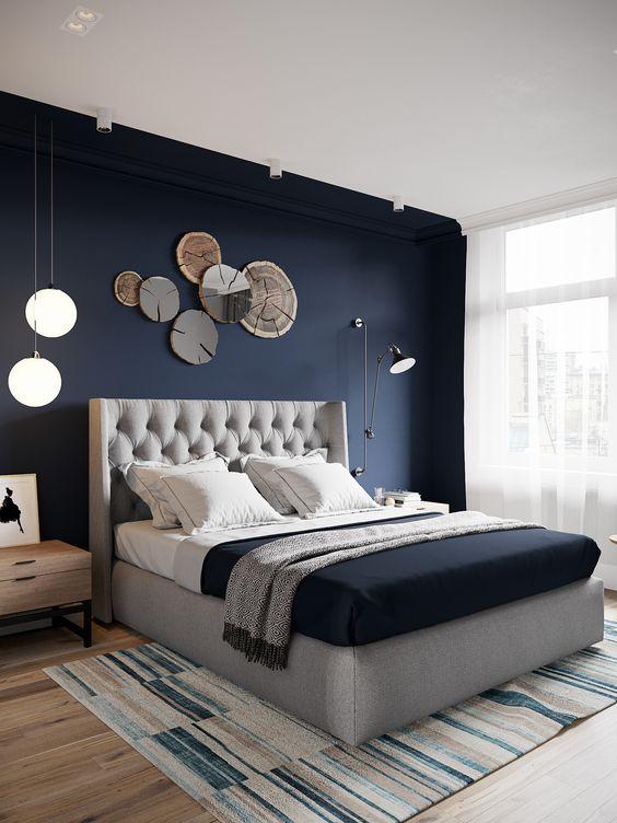 mur chambre bleu nuit
