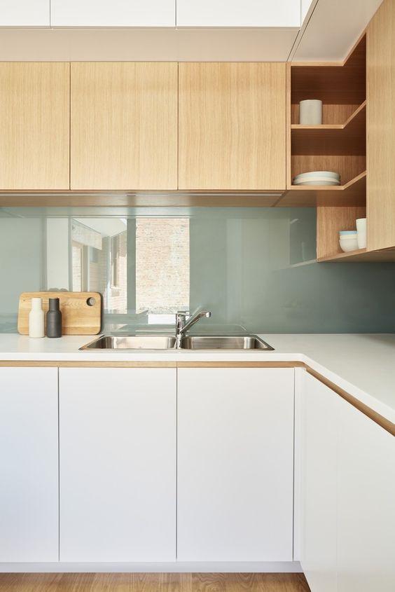 cuisine vert blanc bois archidaily