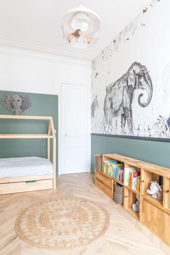 papier peint mi hauteur chambre enfant