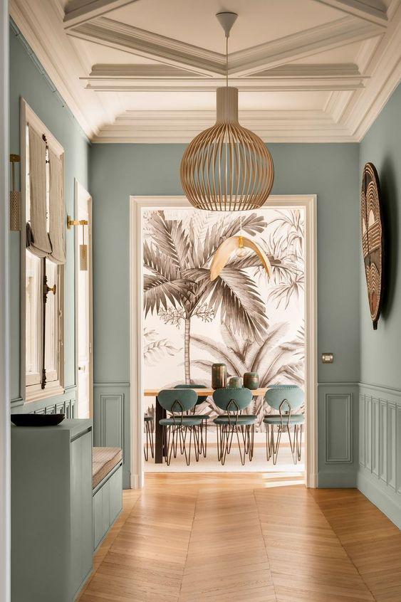 papier peint salon palmier