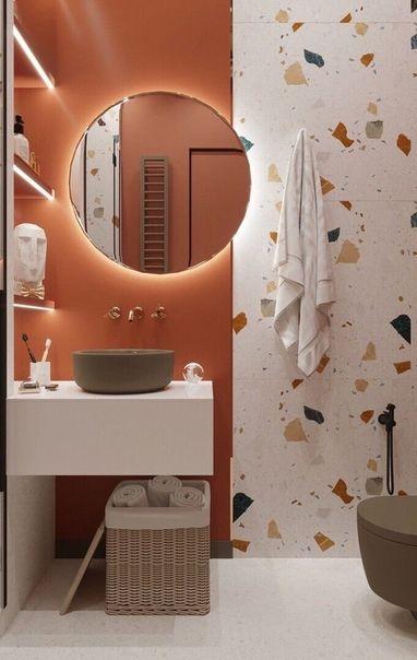 salle de bains terracotta terrazzo